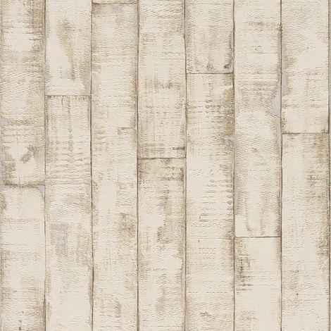 Rasch 3D Bleached Wood Panel Wallpaper