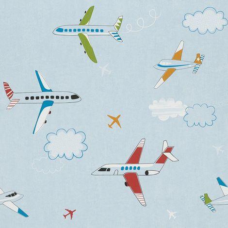 Rasch Aeroplane Clouds Childrens Wallpaper