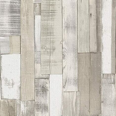 Rasch Authentic Wood Wooden Beam Panels Embossed Textured Wallpaper (Beige Blue 203714) by Rasch