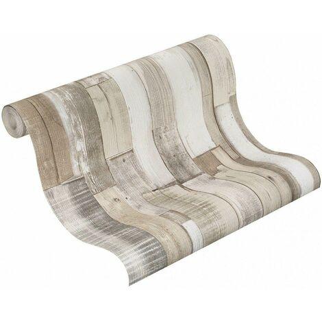 Rasch Beige Grey White Rustic Wood Panel Plank Pallet Effect Wallpaper