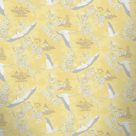 Rasch Birds Wallpaper Flowers Floral Temple Oriental Metallic Shiny 4 Colours