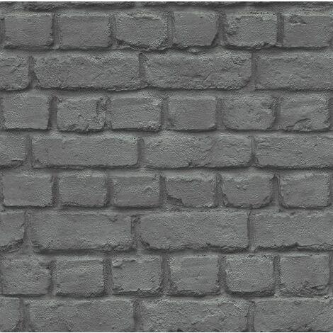 "main image of ""RASCH BLACK BRICK WALLPAPER 226744 NEW!!!!"""