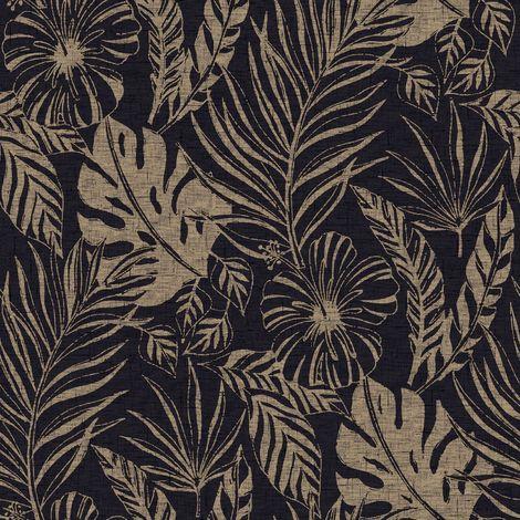 Rasch Black/ Gold Tropical Leaf Wallpaper