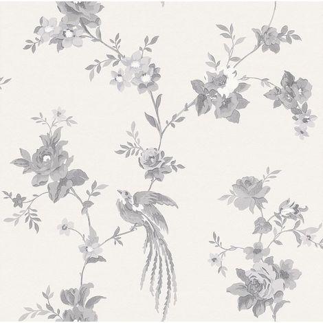 Rasch Black/ White Floral Wallpaper