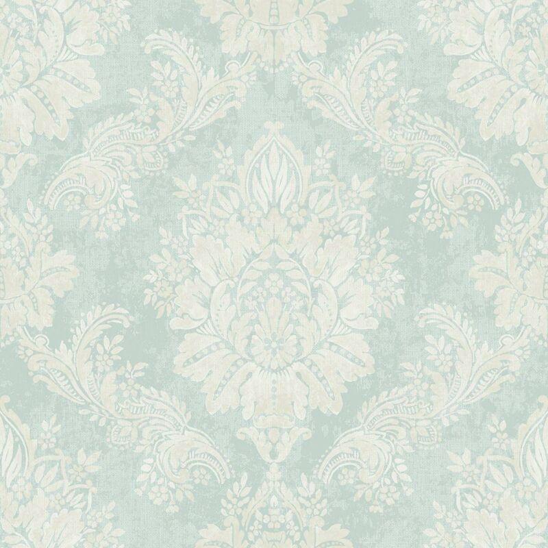 Image of Rasch Bloomsbury Damask Textured Teal Silver Wallpaper