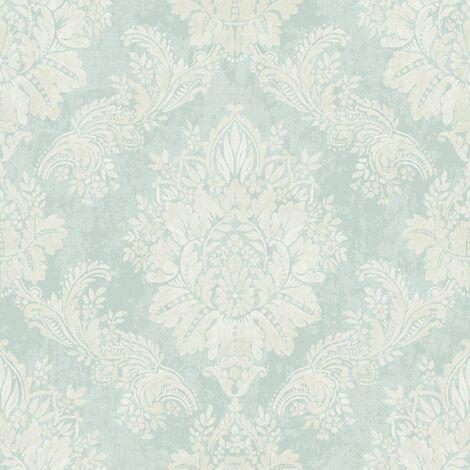 Rasch Bloomsbury Damask Textured Teal Silver Wallpaper