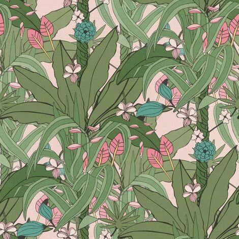 Rasch Blossom Botanical Garden Natural Leaves Wallpaper - Pink Green - 538953