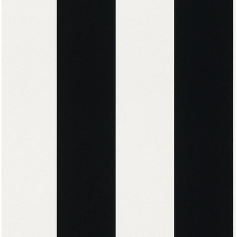 Rasch Bold Stripes Wallpaper Off White Black Metallic Shimmer Striped Texture
