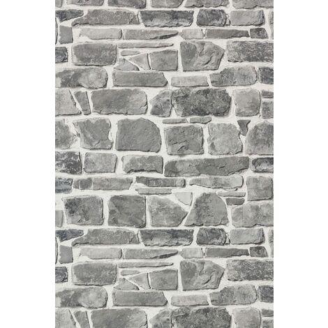 Rasch - Brick Stone Wall Effect - Grey - Luxury Textured Wallpaper 265620
