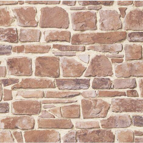 Rasch - Brick Stone Wall Effect - Red - Luxury Textured Wallpaper 265613