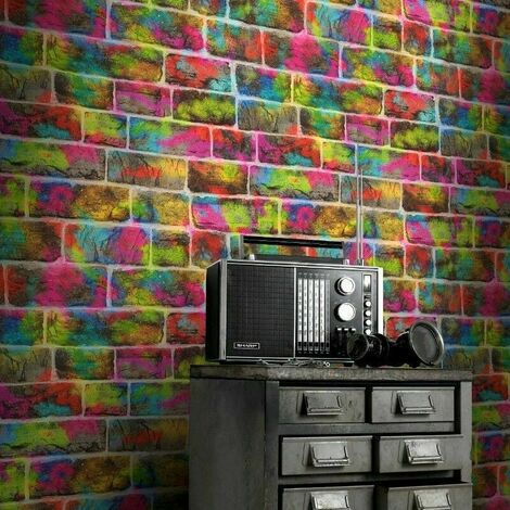 Rasch Brick Wall Multicolour Neon Colour Splash Bricks Feature Kids Wallpaper