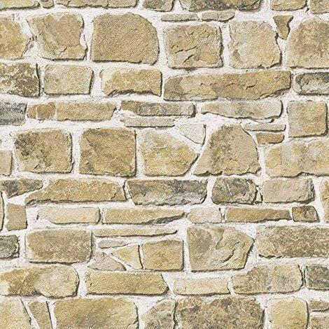 Rasch Brick Wall Pattern Faux Effect Realistic Mural Textured Vinyl Wallpaper (Beige 265606)
