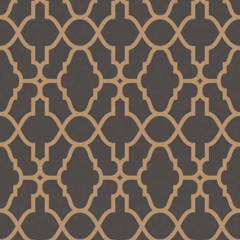 Rasch Casablanca Trellis Black Copper Vinyl Textured Wallpaper