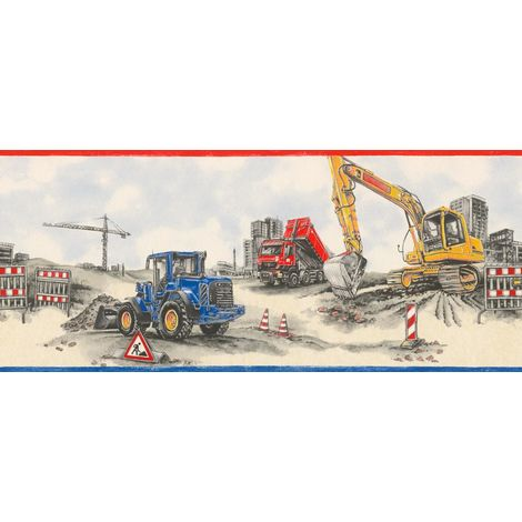 Rasch Construction Site Wallpaper Border Trucks Tractors Blue Red Beige Grey