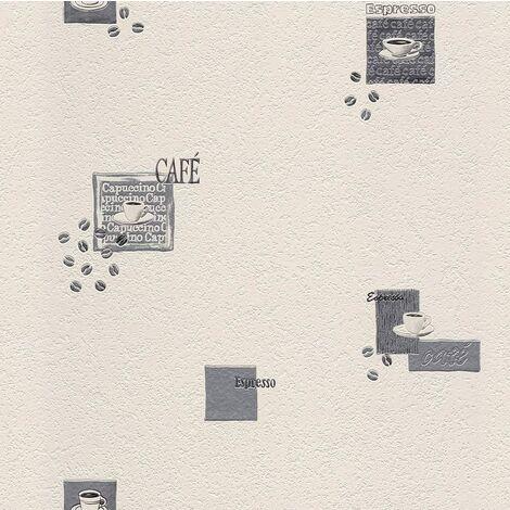 "main image of ""Rasch Diner Cafe Coffee Motif Vintage Tea Kitchen Wallpaper - Grey - 815702"""