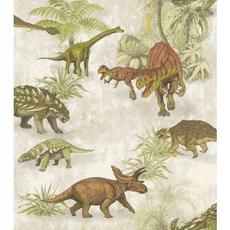 Rasch Dino Dinosaur Wallpaper Jurassic Kids Bedroom Boys Girls Green Beige T Rex