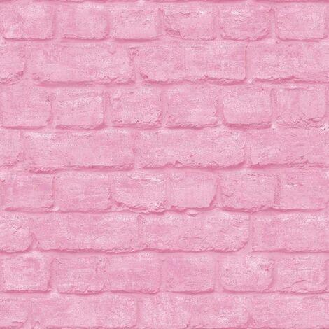 Rasch Feature Loft 226805 Wallpaper Painted Stone Wall Pink