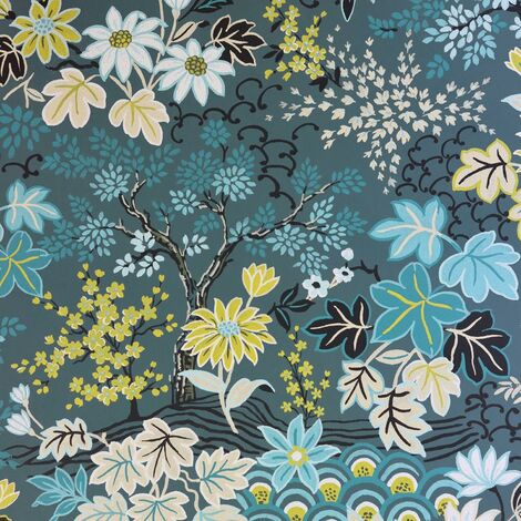 Rasch Floral Flower Nature Wallpaper Blue Green Yellow