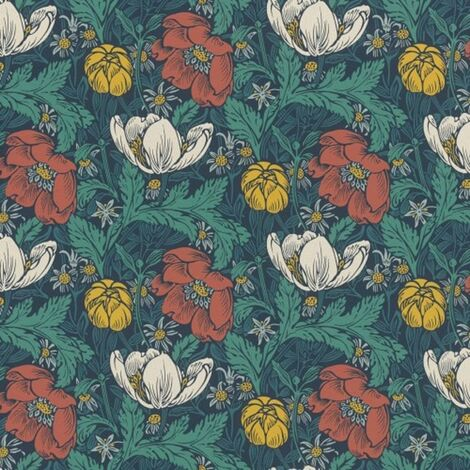 Rasch Floral Flower Red Teal Green Luxury Paste The Wall Wallpaper