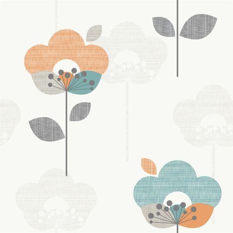 Rasch Floral Teal/ Orange Wallpaper