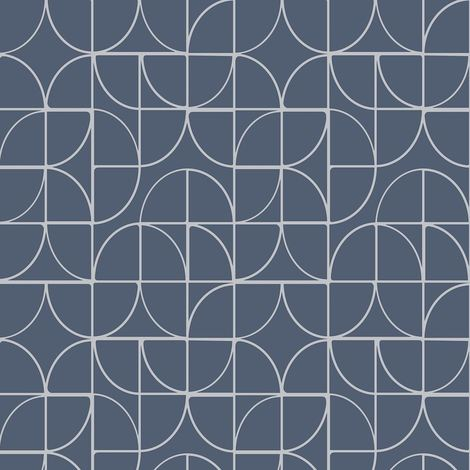Rasch Geometric Curves Blue Silver Metallic Glitter Textured Vinyl Wallpaper