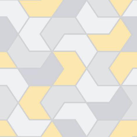 Rasch Geometric Hex Yellow Grey Silver Metallic Glitter Retro Wallpaper