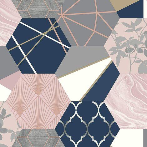 Rasch Geometric Hexagon Patchwork Wallpaper - Pink / Blue - 215908