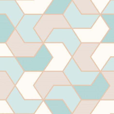 Rasch Geometric Hexagon Wallpaper Duck Egg/ Gold