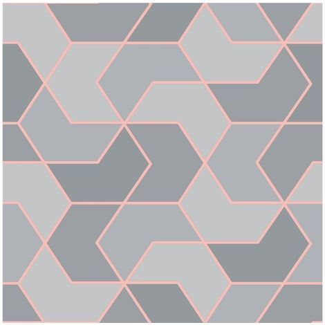 Rasch Geometric Hexagon Wallpaper Grey/ Rose Gold