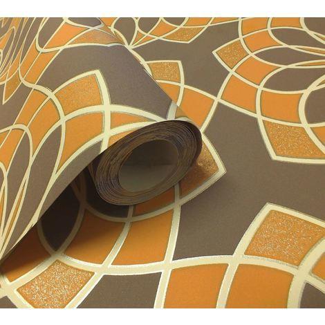 Rasch Geometric Wallpaper Modern Glitter Embossed Bold Funky Brown Orange White