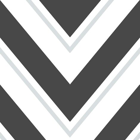 Rasch Geometric Wave Wallpaper Black White Silver Glitter Sparkle Vinyl Chevron