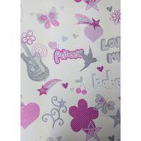 Rasch Girls Pink/ White Butterflies Stars Wallpaper