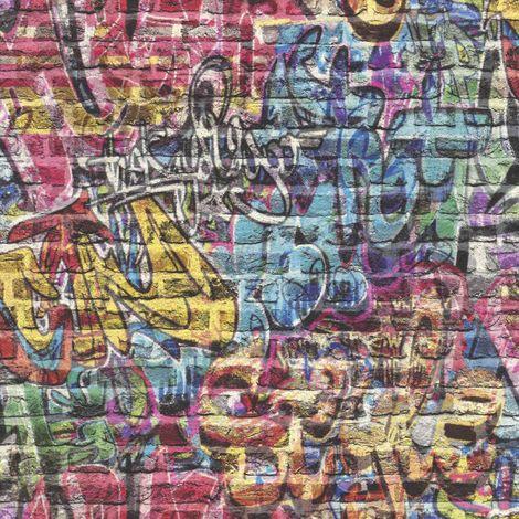 Rasch Graffiti Brick Wallpaper