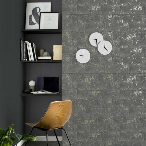 Rasch Industrial Concrete Brick Wall Charcoal Distressed Metallic Wallpaper