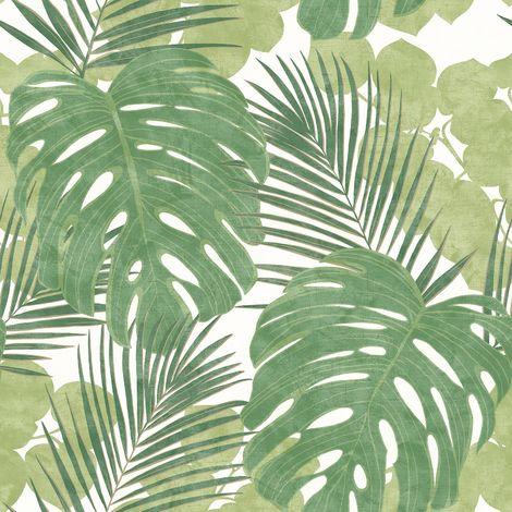Rasch Jungle Green/ White Wallpaper