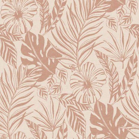 Rasch Jungle Leaf Wallpaper Blush Pink Rose Gold Metallic Botanical Tropical