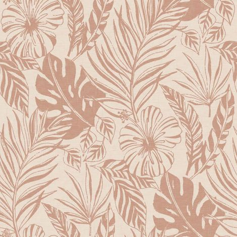 Rasch Jungle Leaves Blush/ Rose Gold Metallic Wallpaper