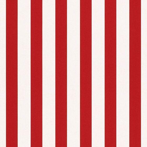 Rasch Kids Bambino Narrow Stripe Wallpaper - Red And White - 246032