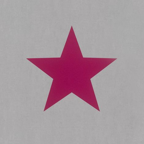 Rasch Large Star Grey/ Pink Wallpaper