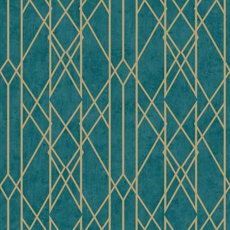 Rasch Lattice Geo Teal/ Gold Wallpaper