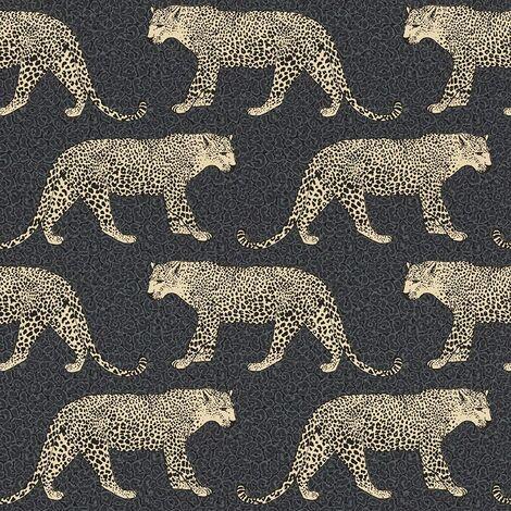 Rasch Leopard Animal Print Metallic Shimmer Wallpaper - Black / Gold - 215311