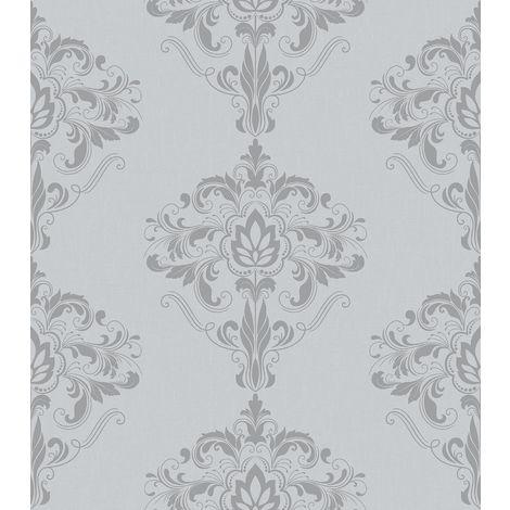 Rasch Marlow Damask Wallpaper Grey Silver Metallic Shimmer Floral Ornamental