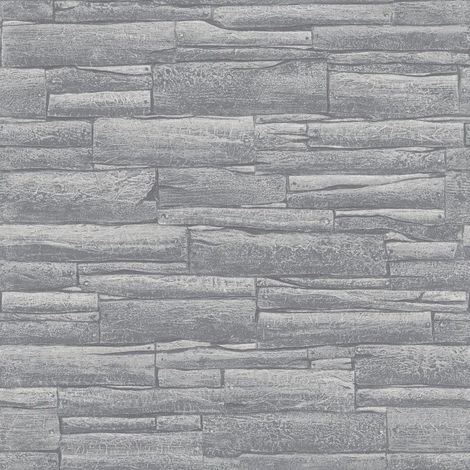 Rasch Metallic Wood Effect Silver Grey Wallpaer 281200