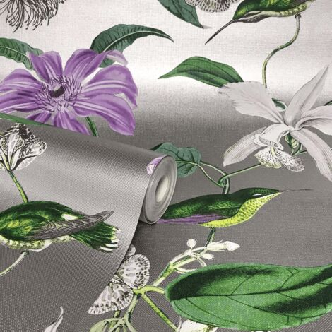 Rasch Metallized Tropique Hummingbird Silver Purple Wallpaper