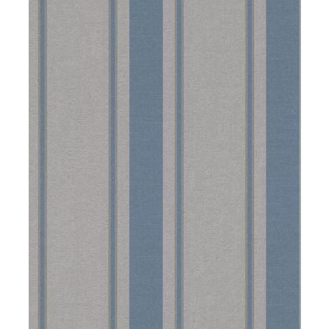 Rasch My Moments Striped Grey Blue Wallpaper