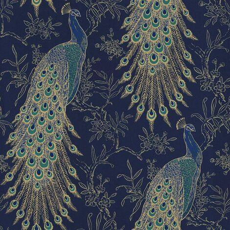 Rasch Peacock Vintage Birds Metallic Feather Wallpaper - Navy / Gold - 215700
