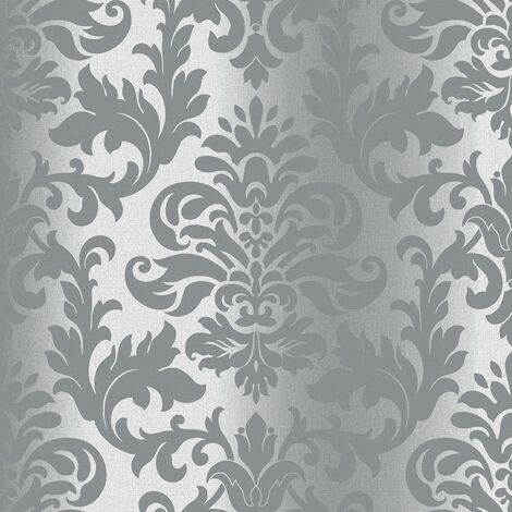 Rasch Platina Metallized Damask Grey Silver Textured Wallpaper