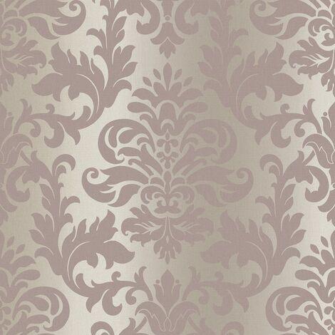 Rasch Platina Metallized Damask Rose Gold Textured Wallpaper