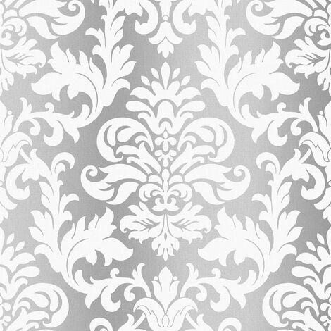 Rasch Platina Metallized Damask Silver White Textured Wallpaper