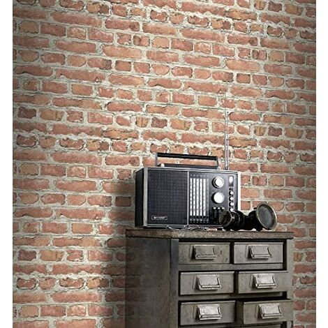Rasch Portfolio Terracotta Red Brick Wall Realistic Print Wallpaper 235203